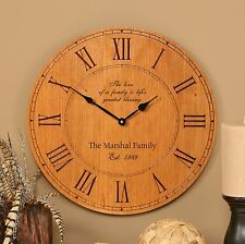 "Personalized Laser Engraveable Cherry Wall Clock, 12"" - Wedding/Anniversary Gift"
