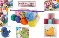 Knitting Yarn Kit with 5mm Needles 6 Colour Balls Hobby art and craft