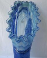 Genuine Italian Art Deco Glass Vase Blue Fan Shape Tammaro Italy Murano  No 774