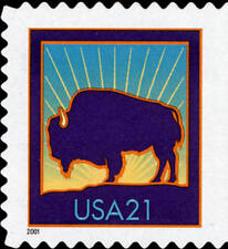 2001 21c Bison, Booklet Single, SA Scott 3484a Mint F/VF NH