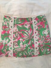 Lilly Pulitzer Pink and Green Flowered Short Skort - Women's 0  -EUC