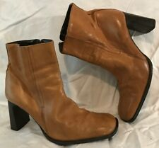 Next Tan Ankle Leather Boots Size 6 (790vv)