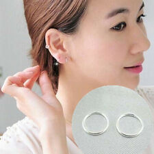 Fashion Women Jewelry Small 925 Silver 10mm Round Ear Studs Hoop Earrings Gift