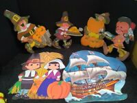 Lot Of 6 Vintage Thanksgiving Paper Die Cut Decorations laminated  :)