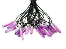 Aura Violet Quartz Rose Forme Libre Cristal Pierre Collier Cordon Pendentif