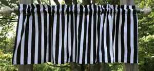 Black & White Stripes 7/8 Inch Awning Striped Kitchen Handcrafted Valance a3/9