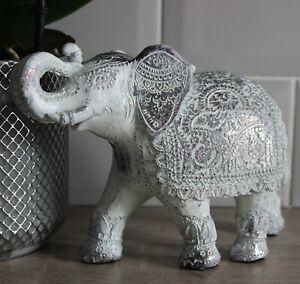 Decorative Thai Brushed White Medium Elephant Figurine Sculpture Ornament