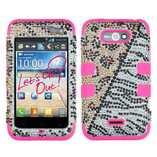 LG Motion 4G Optimus Regard BLING IMPACT TUFF HYBRID Hard Case Snap Cover Hottie