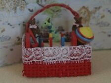 Dolls House Miniature 12th Scale Red Toy Basket of Toys