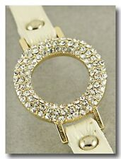 Beautiful Circle Crystal Sparkle Bracelet on Champagne Shimmer Leather Band