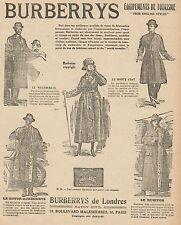 Y9428 Abbigliamento BURBERRYS - Pubblicità d'epoca - 1918 Old advertising