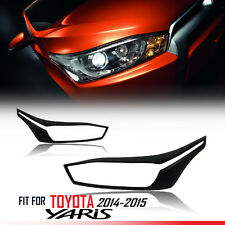 MATTE BLACK FRONT HEADLIGHT LAMP COVER TRIM FOR TOYOTA YARIS HATCHBACK 2014 2015