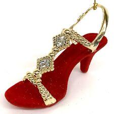 Red & Gold High Heels Shoe Christmas Tree Ornament Velvet Girly Shopping Flocked
