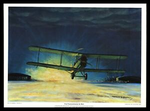 Vintage Charles H Hubbell Art Print Lithograph First Transcontinental Air Mail