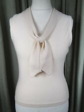 BRORA Cream 100% Cashmere Tank Top With Neck Tie UK12