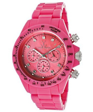 NWT ToyWatch Women's FLP09PS Fluo Plasteramic Chronograph Neon Pink Watch