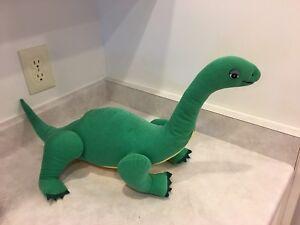 "B&A Vintage 1987 Brontosaurus Green Dinosaur Plush Stuffed Animal 27"" Decor"