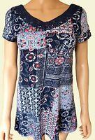 New Ex Per Una Ladies Jersey Navy Blue Floral Patchwork Print Top Sizes 6 - 22