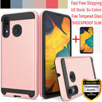 For Samsung Galaxy A10 A20 A30 A50 Shockproof Slim Armor TPU Case+Tempered Glass