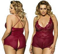 Bodydoll Ladies Sexy Teddy LINGERIE Open Crotch Plus Size 8 10 12 14 16 18 20 22