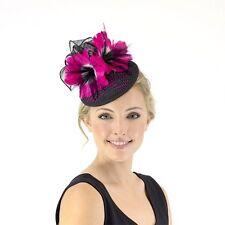 Ladies JENDI PINK +Black Formal Spring Racing Fascinator Headband 4 Oaks Cup Day
