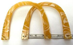 Pair (2) of U Shaped Bag Handles for Knitting or Sewing (Light Amber Marble )