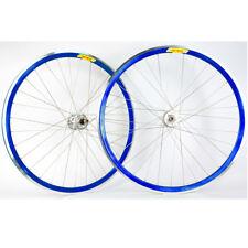 Velocity Deep V Track Fixed Gear 700c Wheelset Blue / Silver 32h Formula Hubs