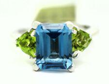 GENUINE 3.95 Cts BLUE ZIRCON & PERIDOT RING 14k WHITE GOLD ** Free Appraisal **