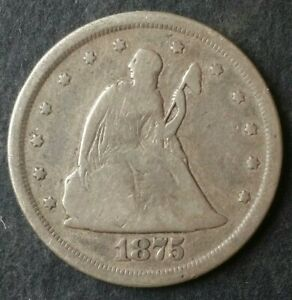 1875 S 20c Seated Liberty Silver Twenty-Cent Piece