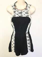 FAB SHAKUHACHI BLACK WHITE LACE SLEEVLESS ROMPER PLAYSUIT JUMPSUIT SZ 6