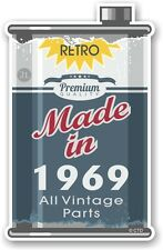 Aged Metal Tin Oil Can MADE IN 1969 Retro Novelty Ratlook Motorcycle car sticker