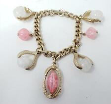 Vintage Gold Tone Pink Clear Crackle Lucite Charm Bracelet
