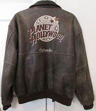 Planet Hollywood Orlando Licensed Brown Leather Bomber Jacket Large
