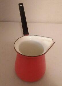 Orange Enamel Metal Turkish Coffee Pot Warmer Ladle Made in Yugoslavia 2 Vintage