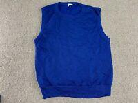 Sweater Vest Sweatshirt Collegiate Pacific Blue Blank Crewneck 80s VTG