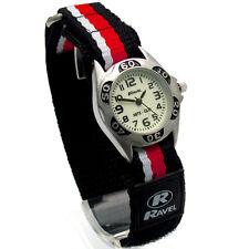 Ravel Kids Night Glow Watch Hook & Loop Strap Black/Red/White Stripes 1704.10