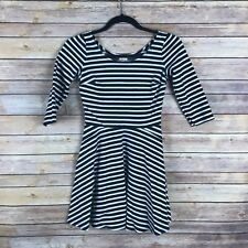Hollister Juniors Dress Ponte Stretch Knit Fit and Flare Skater Skirt Striped S