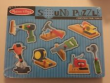 NEW Melissa & Doug Construction Tools Sound Puzzle Saw Hammer Drill NIP