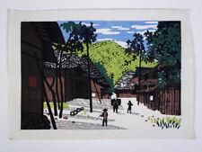 """Rare Japanese Kiyoshi Saito Woodblock Print """"Village of Mito"""" Art Work Signed"""