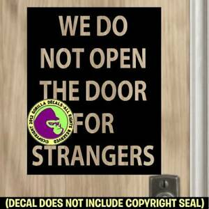 STRANGERS NO Soliciting Decal Sticker Privacy Solicitors Front Door Sign BLK