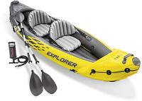 Intex Explorer K2 Inflatable Kayak 2 Person Adjustable Seat Aluminum Oars & Pump