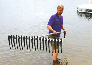 Extra Large Lake Weed Rake with Long Tines and Extendable Handle | Rake Zilla
