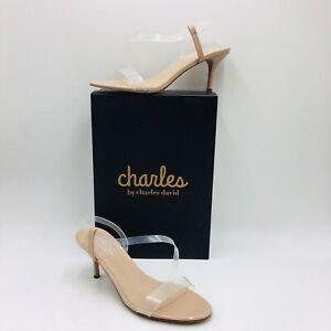CHARLES by Charles David Bermuda Asymmetrical Dress Sandal Size 8M Nude/Clear