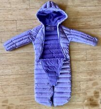 Hawke And Co Sport Snowsuit Purple Quilted Footed Hood Zip Closure Coat Down 12m