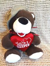 "Dan Dee Collectors Choice~YOU'RE A KEEPER~ 13"" BROWN BEAR w/ HEART & SAFARI HAT"