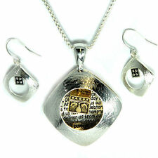 """The Lords """"Our Father"""" Prayer Pendant Necklace With Matching Earrings"""