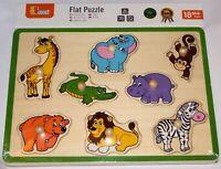 Viga Wooden Wild Animals Chunky Peg Puzzle - Brand New - 50019