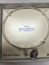 DISNEY FROZEN PRINCESS ELSA & ANNA  SILVER PLATED CHARM BANGLE