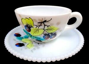 "WESTMORELAND BEADED RIM WHITE MILK GLASS BLACKBERRY DESIGN 2 1/8"" CUP & SAUCER"