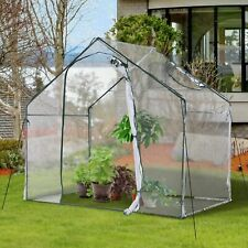 More details for outsunny 1.8m portable walk-in pvc greenhouse with steel frame flowers plant